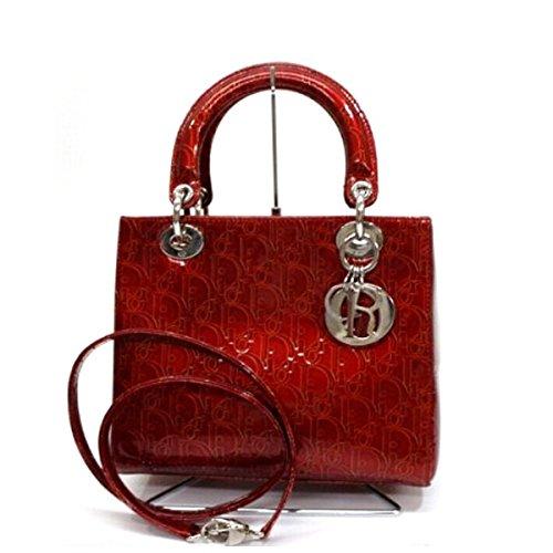 (クリスチャン・ディオール) Christian Dior レディディオール エナメル 2WAYミニハンドバッグ レッド シルバー金具 [中古]