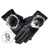 23077a12d8ec92 [FERE8890] レディース グローブ 手袋 革 おしゃれ かわいい ふわふわ レザー 冬 暖かい 厚手 女性用