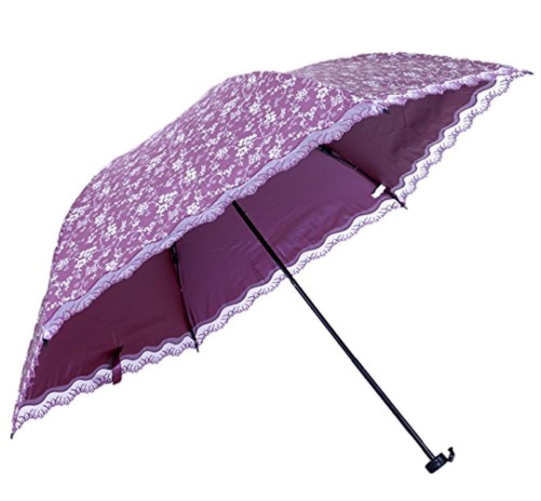 通信する各手入れHoneystore 折りたたみ日傘 晴雨兼用 完全遮光 花柄 レースフリル 日傘( UVカット率 約99%/UPF50+)
