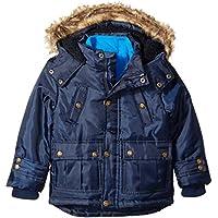 Ok Kids Boys Nylon Oxford Jacket with Faux Fur Trim Hood Jacket