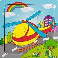 ACHICOO ジグソーパズル 木製 車両パターン パズル 教育 学習玩具 9スライス キッズ 赤ちゃん 航空機