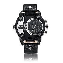 Cagarny元メンズスポーツレザーストラップ2ダイヤル作業できクオーツ腕時計6818すべてブラック
