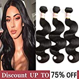 "8A Brazilian Virgin Hair Body Wave 3 Bundles 100% Unprocessed Remy Human Hair Weave Wet and Wavy Brazilian Hair Extensions Natural Black Color (16"" 18"" 20"")"