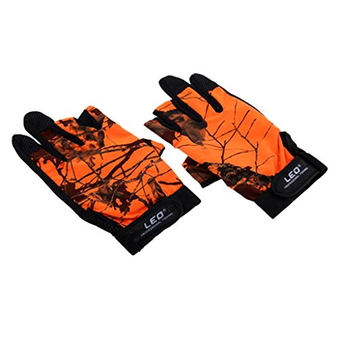ネックレットサラダこんにちはSunniMix グローブ 柄 3本指  出し 冬春用 釣り用 手袋  防寒 滑り止め  防水 通気性 全4色