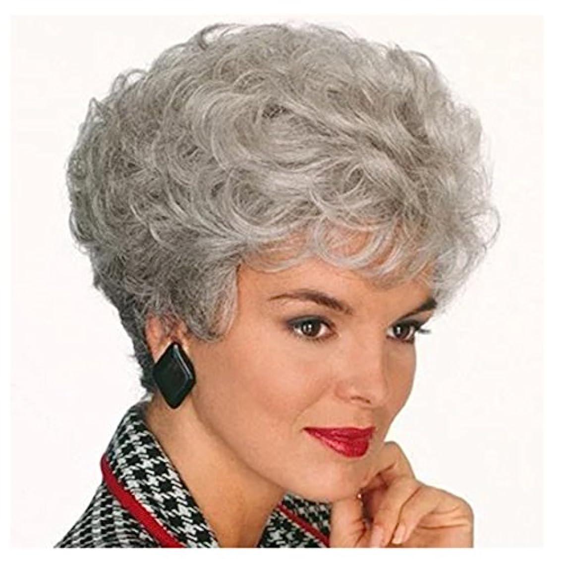 谷シーン知っているに立ち寄るYOUQIU コスプレ中年と古い人々のために150グラムフラッツ前髪ウィッグで女性や男性の髪ふわふわナチュラルウィッグ用ショート全頭ウィッグ(黒/ダークブラウン/ライトブラウン/グレー)ウィッグ (色 : グレー)