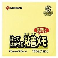ニチバン:ポイントメモ はってはがせる粘着メモ 黄 サイズ:縦75×横75mm M-2Y 51105