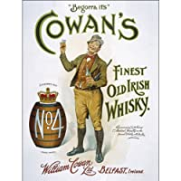 """Cowans古いアイルランドメタルサインforキッチン 12""""x16"""" グリーン Beer10637"""