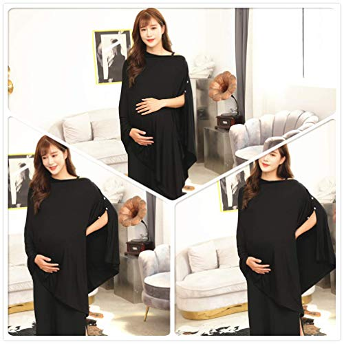 Black Nursing Cover Shawl Poncho Breastfeeding Cover Scarf Maternity Pregnancy Poncho Top for Breastfeeding and Baby Car Seat Cover Adjustable Buttons Design Breathable Bamboo 360° Suitable for All Seasons