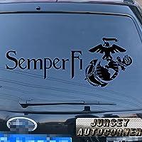 USMC United States Marine Corps海兵隊Semper Fi Eagle Globeアンカー車トラックデカールステッカービニールDie Cut No背景Pickカラーサイズ 16'' (40.6cm) ブラック 20171102s13