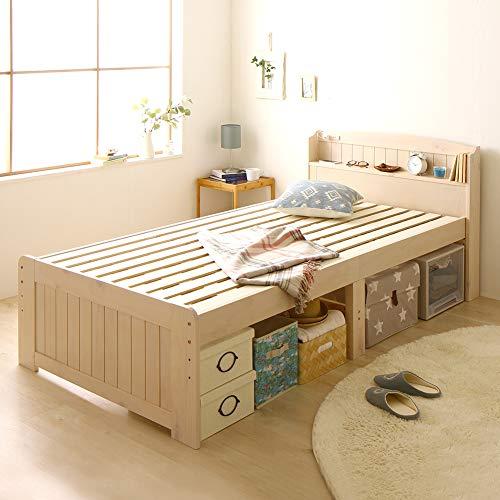 カントリー調 天然木 すのこベッド セミダブル(フレームのみ)布団対応 高さ調整可能 大容量ベッド下収納 『Ecru』 エクル ウォッシュホワイト 白