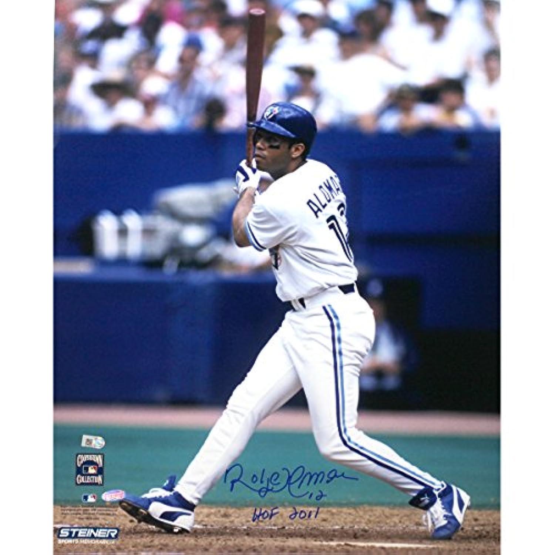 MLBトロントブルージェイズRoberto Alomarホワイトジャージースイング垂直8 x 10 Photo with HOF Inscription