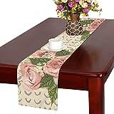 GGSXD テーブルランナー きれい バラ クロス 食卓カバー 麻綿製 欧米 おしゃれ 16 Inch X 72 Inch (40cm X 182cm) キッチン ダイニング ホーム デコレーション モダン リビング 洗える