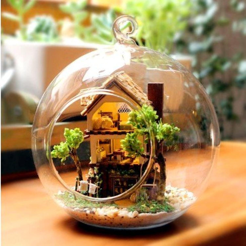 ミニチュア人形House Hutログ家スタイリッシュな球体ガラスピッチセンサー