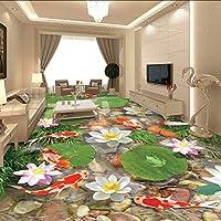 Lixiaoer カスタム3D床壁画壁紙防水壁絵画魚蓮池小石リビングルームの床の装飾ステッカー壁画-400X280Cm