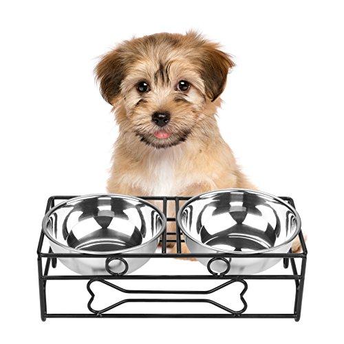 VIVIKO ペット用品 骨型 犬のボウル 猫のボウル ご飯入れ 食器 食事 台 高品質ステンレス製 餌やり 水やり 洗いやすい 清潔 (S)