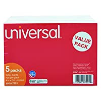 Universal 47225 Unruled Index Cards, 4 x 6, White, 500/Pack by Universal