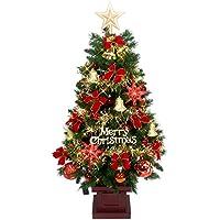 クリスマス屋 クリスマスツリーセット 120cm 木製ポット付セットツリー LED レッド&ゴールド