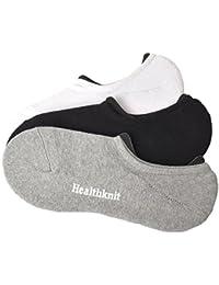 [ヘルスニット] Healthknit 靴下 カバーソックス スニーカーソックス 黒 グレー 白 紺 無地 3足組 メンズ レディース脱げにくい シンプル くるぶし 足首 杢 通勤 通学