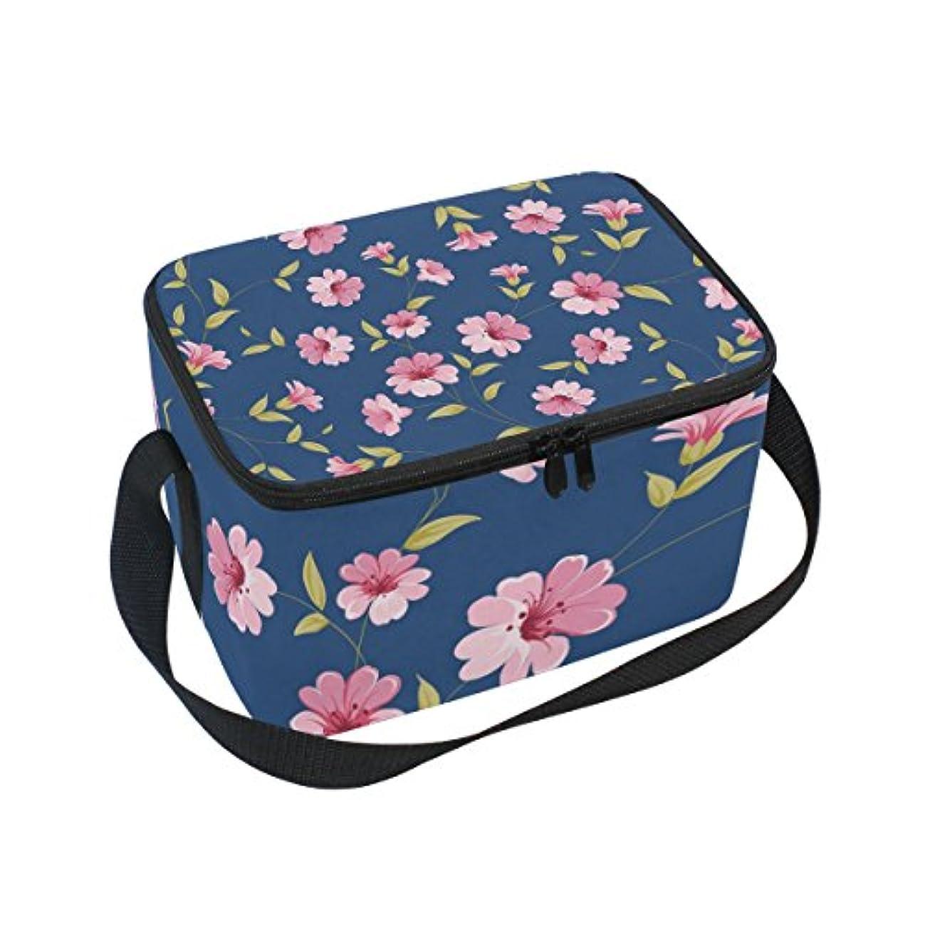 カイウス安価な畝間クーラーバッグ クーラーボックス ソフトクーラ 冷蔵ボックス キャンプ用品 ネイビー背景にピンク花 保冷保温 大容量 肩掛け お花見 アウトドア