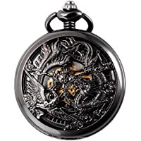 SIBOSUN Antique Phoenix and Dragon Skeleton Pocket Watch Mens Mechanical Chain Half Hunter Hand Wind