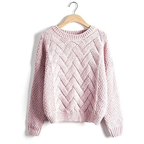 ざっくり クルーネック 防寒 ケーブル編み ショート丈 6色