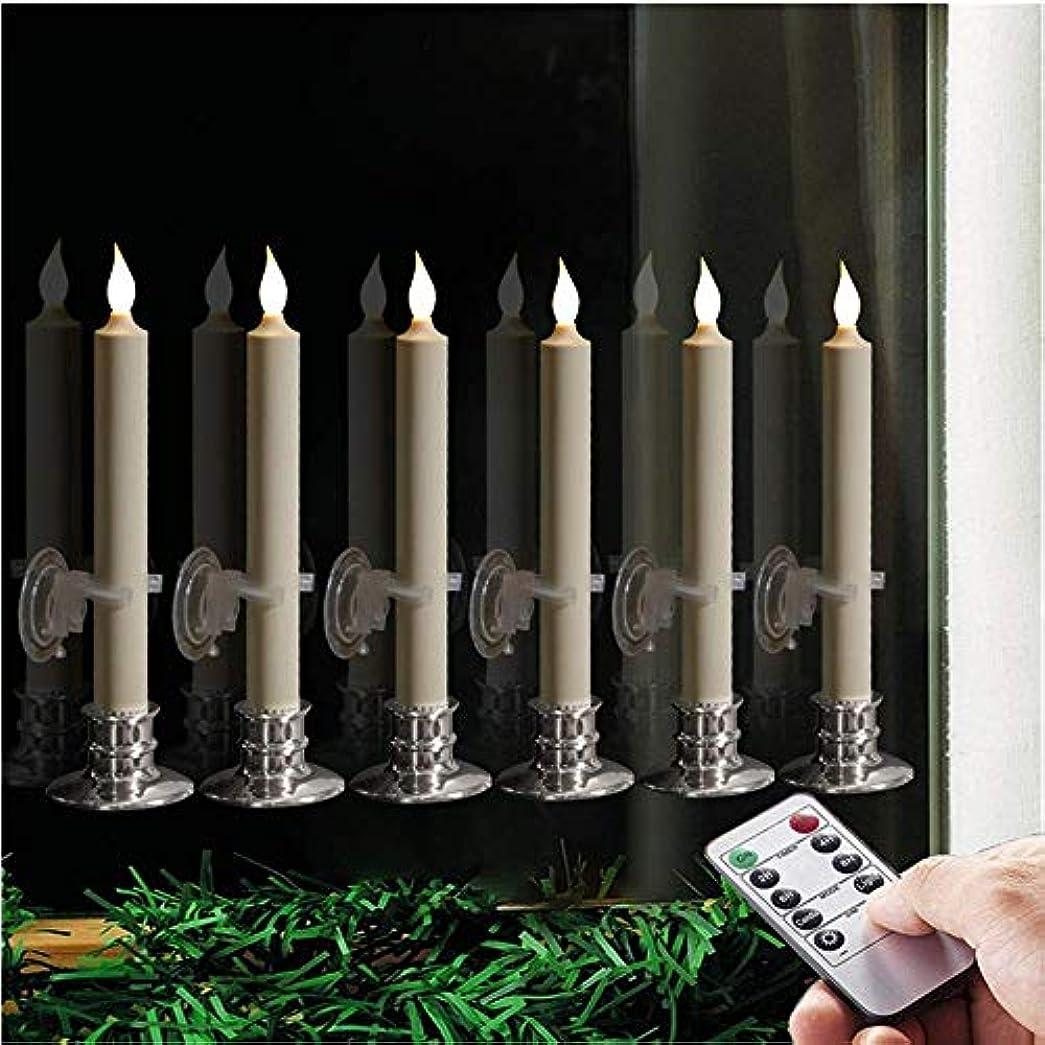 集中解釈聖書9インチフレームレスクリスマスLEDテーパーキャンドルセット クリップ、吸盤、取り外し可能シルバーキャンドルホルダー付き リモコン付属 温白色LED 6個セット