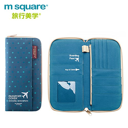 M Square 旅行パスポートケース カード、航空券、チケット収納ケースカバー  iPhone 6/6S/7Plus iPhone8入れる大容量財布 (ブルー水玉長いサイズ)