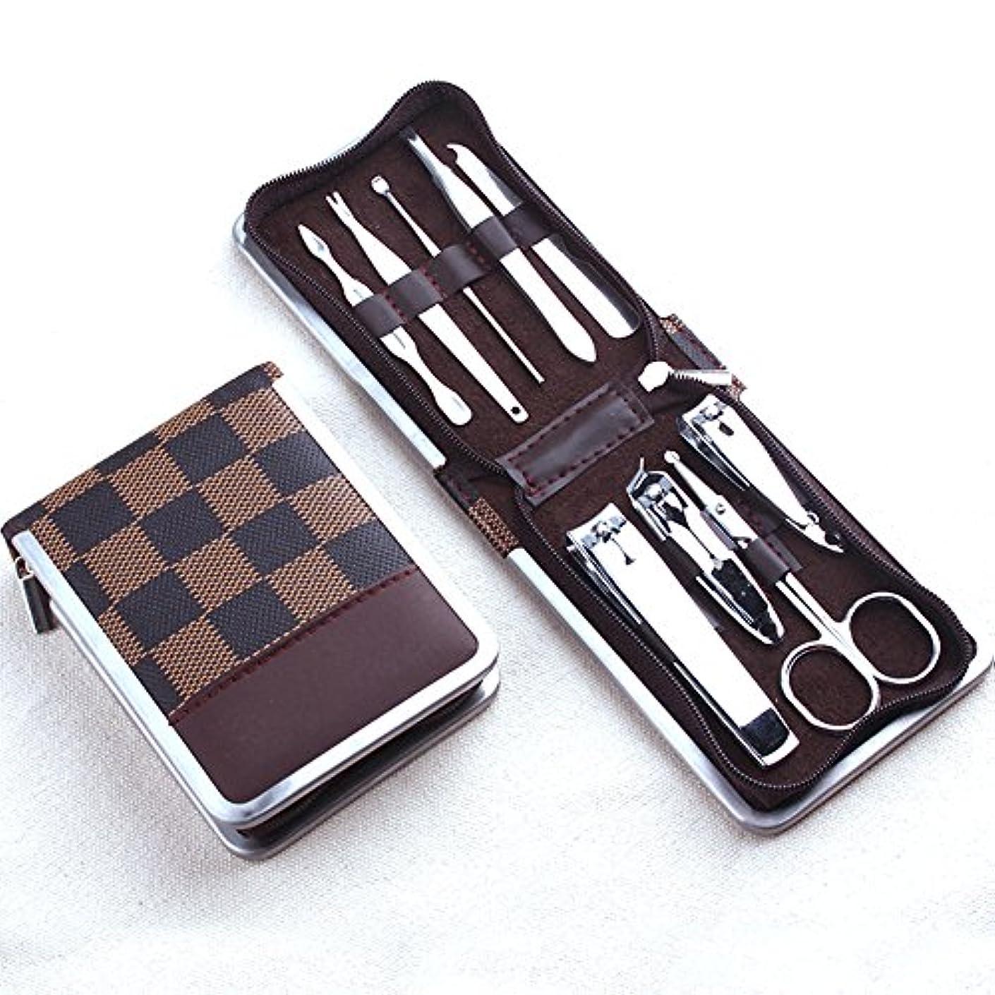 名前リズム限界プロフェッショナルステンレスマニキュアペディキュアセット爪切りクリーナーキューティクル旅行グルーミングキットケース9に1