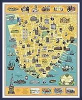 ポスター トニー ミリオネア A History of Lower Manhattan 額装品 ウッドベーシックフレーム(ブルー)