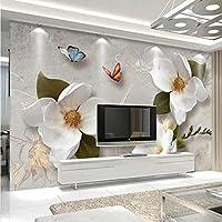 Xbwy カスタム壁画壁紙3Dステレオレリーフ花蝶フレスコ画現代のシンプルなリビングルームテレビソファ背景壁紙用3 D-400X280Cm