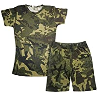 Kids Girls Short 100% Cotton Camouflage Green Summer T Shirt Shorts Set 5-13 Yrs