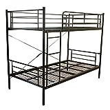 【耐荷重300kg】二段ベッド ムーン2-ART 軽量 アイアン パイプ式 2段ベッド (ブラック)