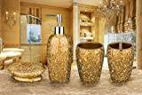 SILOKO 豪華な金箔デザインのシャンプー入れ 石鹸入れ うがいコップ 歯ブラシスタンドの4点セット(金箔)