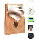 Kalimba 17 Keys Finger Thumb Piano,Mbira,Solid Mahogany Body - with Calibrating Tune Hammer and Storage Bag