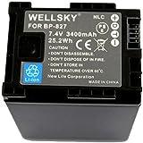 【WELLSKY】 ● CANON キヤノン ●BP-827 / BP-827D 互換バッテリー●純正充電器で充電可能 残量表示可能 純正品と同じよう使用可能● HF10 / HF100 / HF11 / HG21 / HF20 / HF21 / HFS10 / HFS11 / HFS21 / HFM31 / HFM32 / HFM41 / HFM43 / HFG10 / XA10 / HF G20 / HF G21