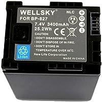 [WELLSKY] CANON キヤノン iVIS アイビス BP-827 / BP-827D 互換バッテリー [ 純正充電器で充電可能 残量表示可能 純正品と同じよう使用可能 ] HF10 / HF100 / HF11 / HG21 / HF20 / HF21 / HFS10 / HFS11 / HFS21 / HFM31 / HFM32 / HFM41 / HFM43 / HFG10 / XA10 / HF G20 / HF G21