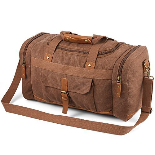 Plambag Men's 50L Canvas Luggage Duffel Bag Travel Tote Shoulder Bag Large Coffee