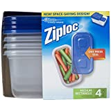 Ziploc Container, Medium Rectangle, 1.8 Cups, 4 Count