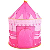 折りたたみ式子供Fairy Castle Tent Play HouseアウトドアインドアPop Up CubbyキャノピーToy Kidsレッド