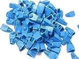 カラー 選べます RJ 45 LAN ケーブル コネクタ カバー 100個 セット (青)