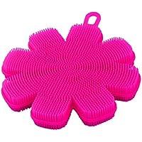 uxcell クリーニングブラシパッド フォークスプーン洗濯 シリコンフラワー形 ファミリーキッチン ピンク