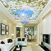 Jason Ming カスタム写真の壁紙3Dステレオ青空白い雲花鳩天井壁画リビングルームホールホテル壁紙-280X200Cm