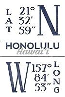 ホノルル、ハワイ–緯度と経度(ブルー) 24 x 36 Signed Art Print LANT-67134-710