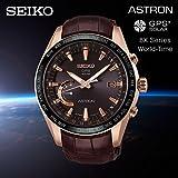SEIKO ASTRON セイコー アストロン GPS ソーラーウオッチ チタン クロコダイル レザーベルト SSE096J1 国内品番 SBXB096 8Xシリーズ ワールドタイム GPS 衛星電波 軽量 薄型 ブラウン ローズゴールド [並行輸入品]