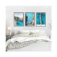 海ヨーロッパスタイルのシンプルな防水フェード耐性絵画の背景正方形の装飾画像アートプリント壁3枚,40*60CM