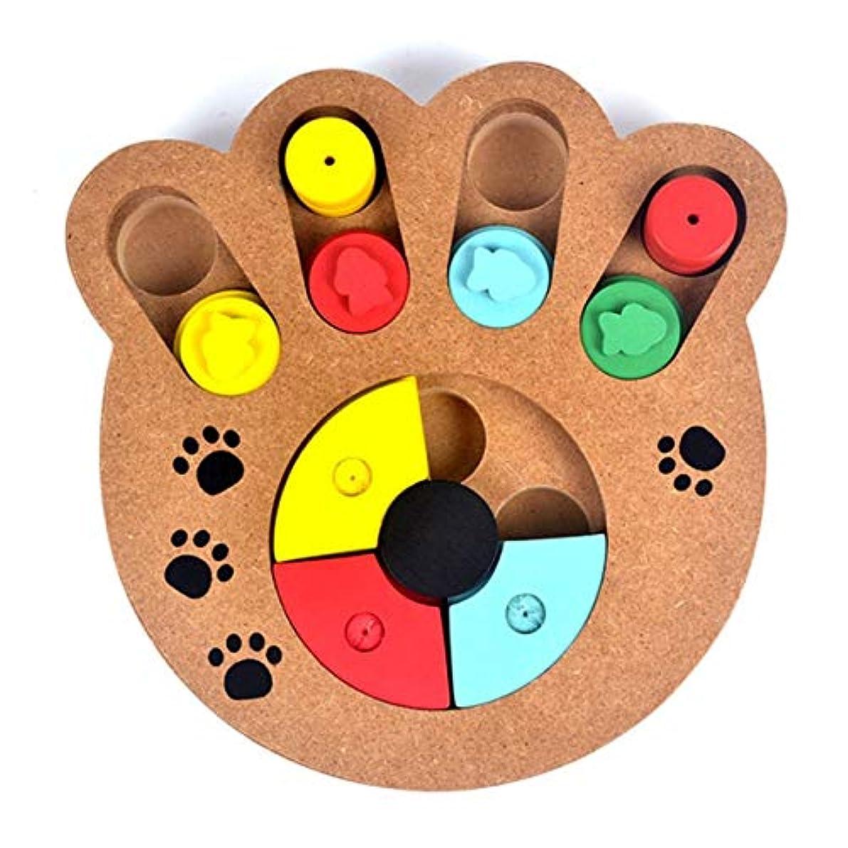 コンプライアンス滑る漏斗Saikogoods 多機能の自然食品は 子犬犬猫ペット用品のための木製教育ポウパズルインタラクティブ玩具扱い マルチカラーミックス