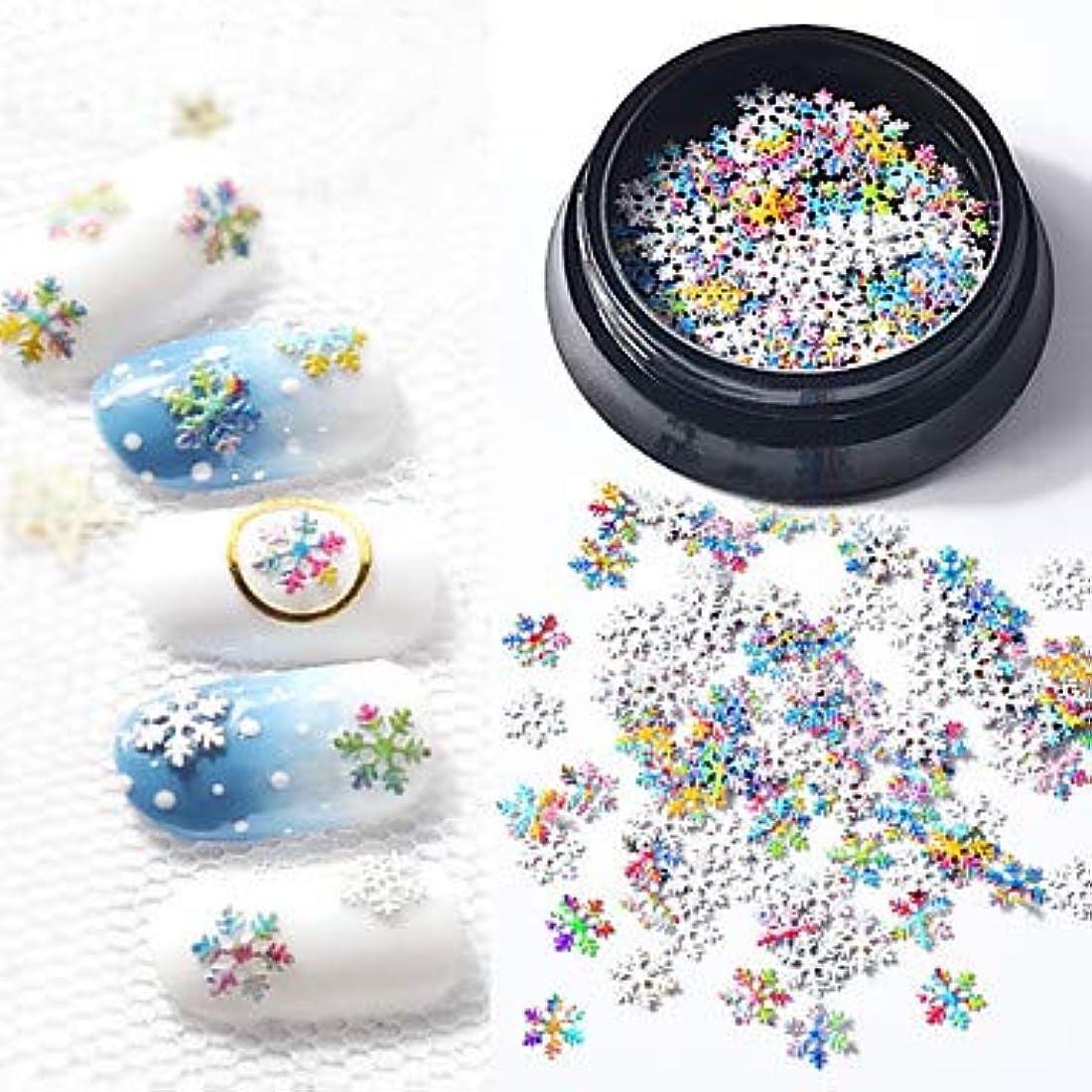 第二タイル表面カラフルな指の爪スノーフレークネイルアートマニキュアペディキュアクリスマスフェスティバルのために1個スリムデザインメタリックネイルジュエリー