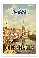 コペンハーゲン、デンマーク - イギリス・ヨーロッパ航空(BEA) - ビンテージな航空会社のポスター によって作成された イエルゲン・ブレンデキルド c.1955 - アートポスター - 76cm x 112cm