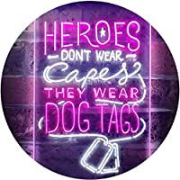 Heroes Don't Wear Caps Wear Dog Tags Lover Dual Color LED看板 ネオンプレート サイン 標識 白色 + 紫 300 x 400mm st6s34-i3411-wp
