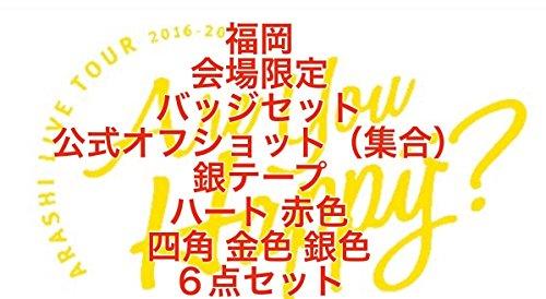 嵐 LIVETOUR Are you Happy?2016 【福岡】会場限定 バッジセット+公式オフショット(集合)+銀テープ +ハート(赤色)+四角 (金色 銀色)6点セット